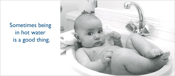 baby in the bath water